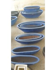 Blue Oval Pots Set Of 3